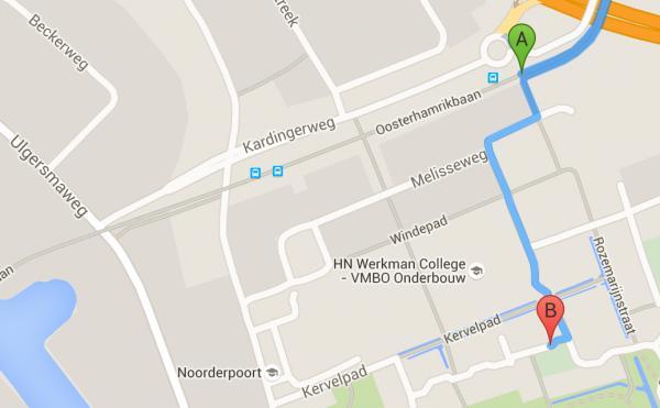 Looproute van bushalte naar De Poel Webdesign
